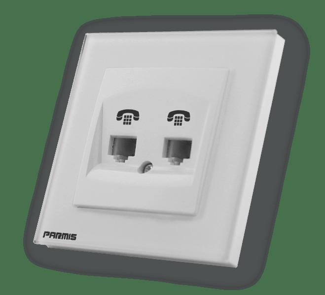 پریز تلفن دو خانه | پارمیس تولید کننده کلید لمسی