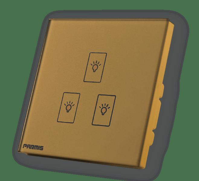 کلید لمسی سه پل طلائی | پارمیس تولید کننده کلید لمسی