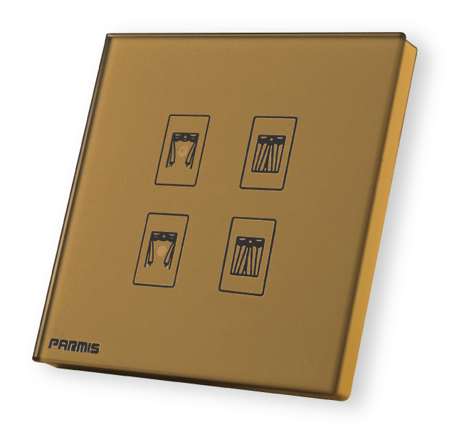 کلید لمسی کنترل پرده برقی طلائی | کلید لمسی | کلید کنترل پرده برقی